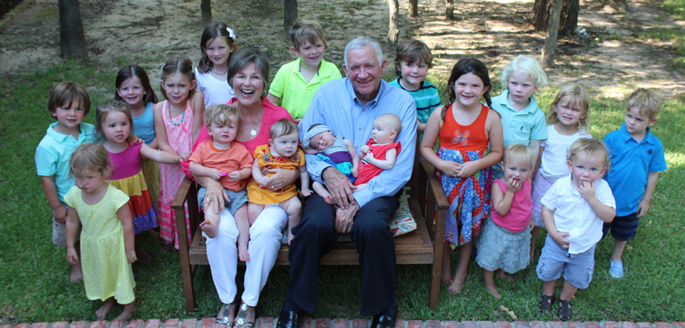Sue and Robert Sloan with their grandchildren