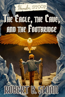 young boy faces a glowing eagle in a blue cave with a black background, Hamelin Stoop: The Eagle, the Cave, and the Footbridge by Robert B. Sloan